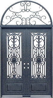 Napoli 3qtr rectangle with transom iron door