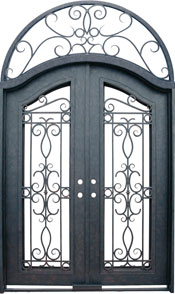 Venice Eyebrow iron door with transom