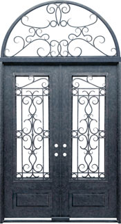 Venice 3qtr rectangle with transom iron door
