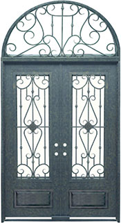 Roma 3qtr rectangle with transom iron door