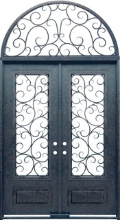 Seville 3qtr rectangle with transom iron door
