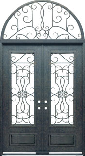 Barcelona 3qtr rectangle with transom iron door