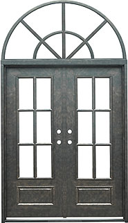 Monticello 3qtr rectangle with transom iron door