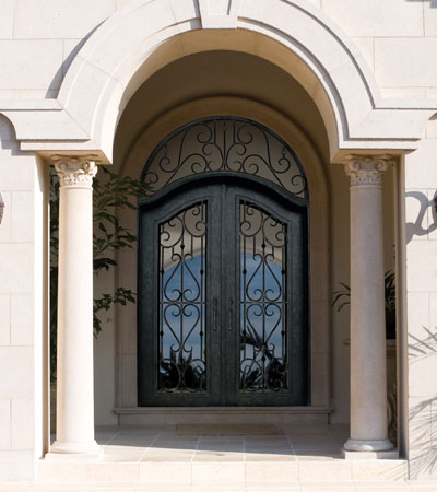 Roma Eyebrow Iron Door with Transom