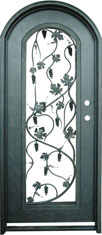 Radius wine iron door with grape leaves